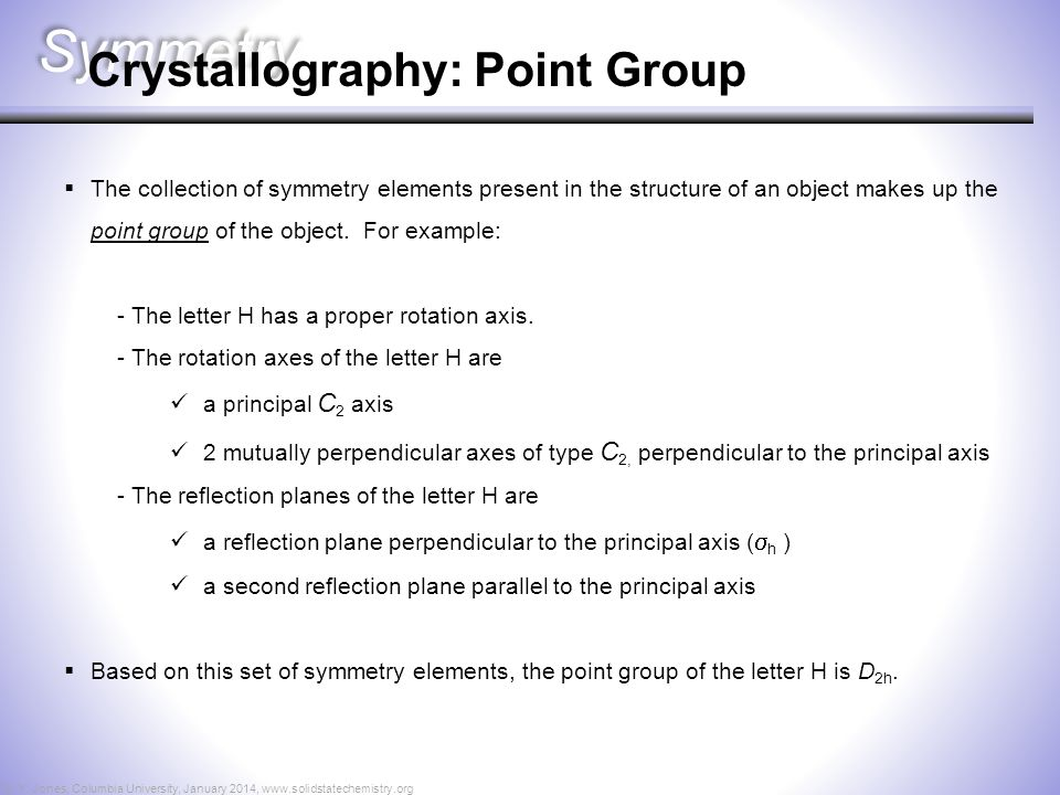 Symmetry Crystallography: Point Group