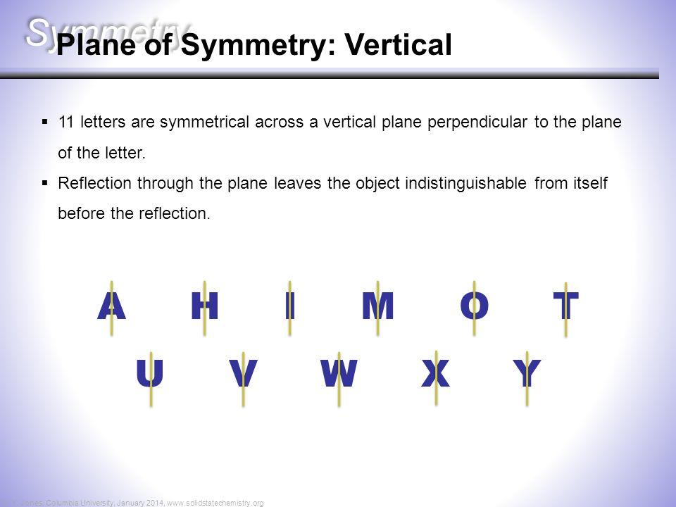 Symmetry A H I M O T U V W X Y Plane of Symmetry: Vertical