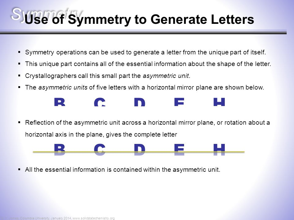 Symmetry B C D E H B C D E H Use of Symmetry to Generate Letters