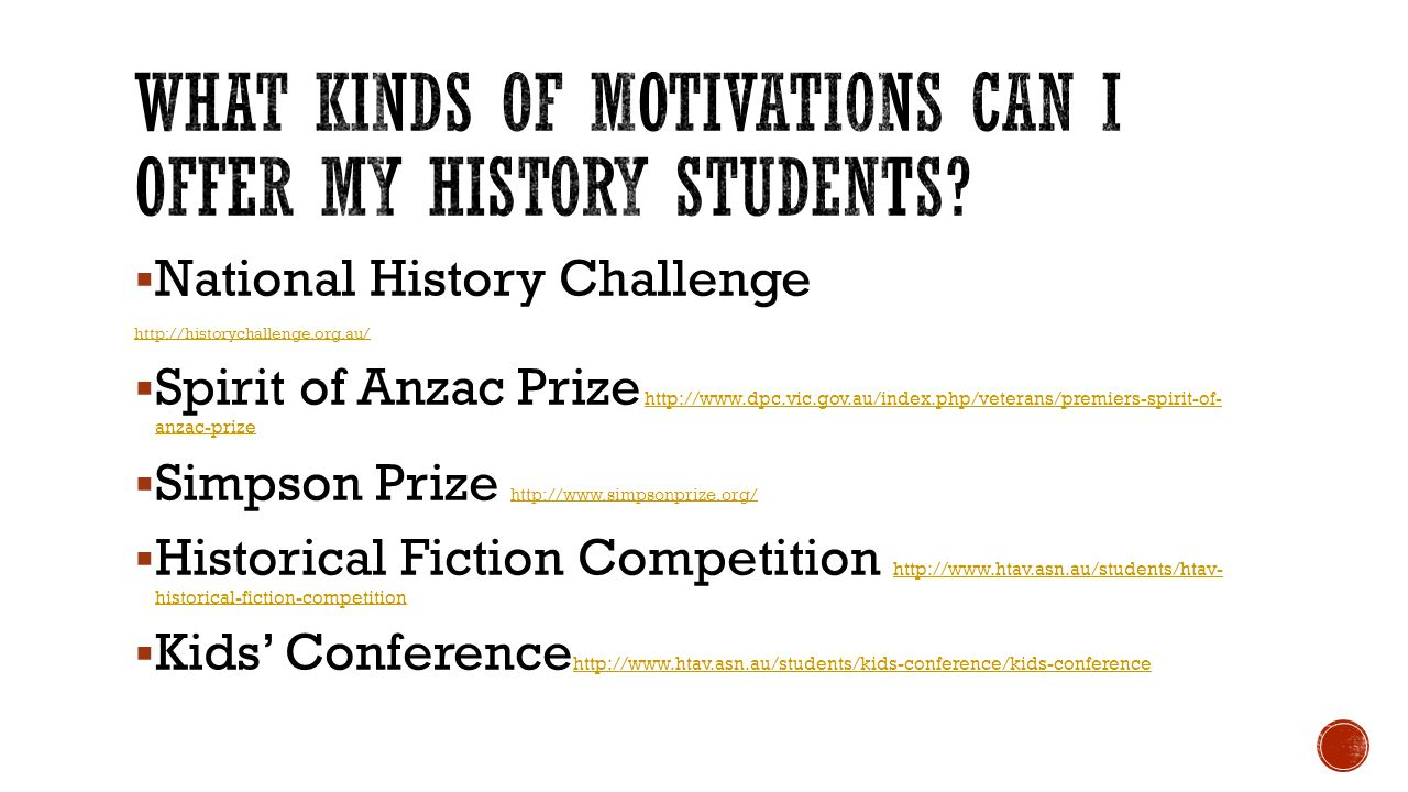 What kinds of motivations can I offer my History students
