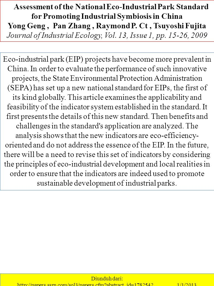 …Assessment of the National Eco-Industrial Park Standard for Promoting Industrial Symbiosis in China