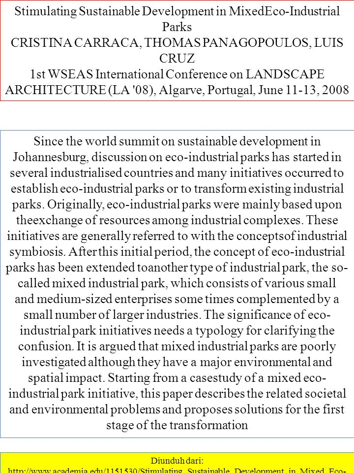 Stimulating Sustainable Development in MixedEco-Industrial Parks