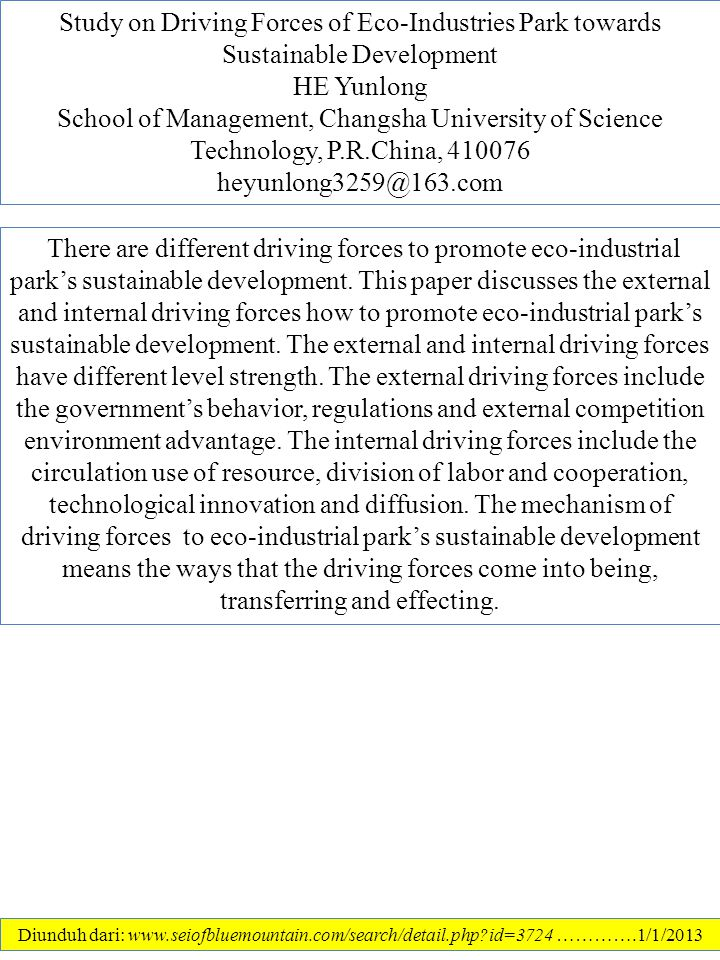 Study on Driving Forces of Eco-Industries Park towards Sustainable Development