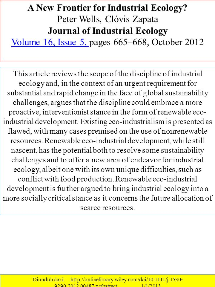 A New Frontier for Industrial Ecology Journal of Industrial Ecology