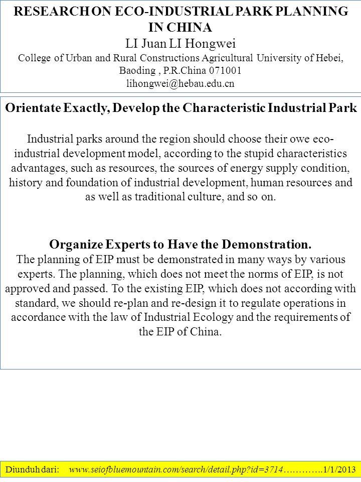 RESEARCH ON ECO-INDUSTRIAL PARK PLANNING IN CHINA LI Juan LI Hongwei
