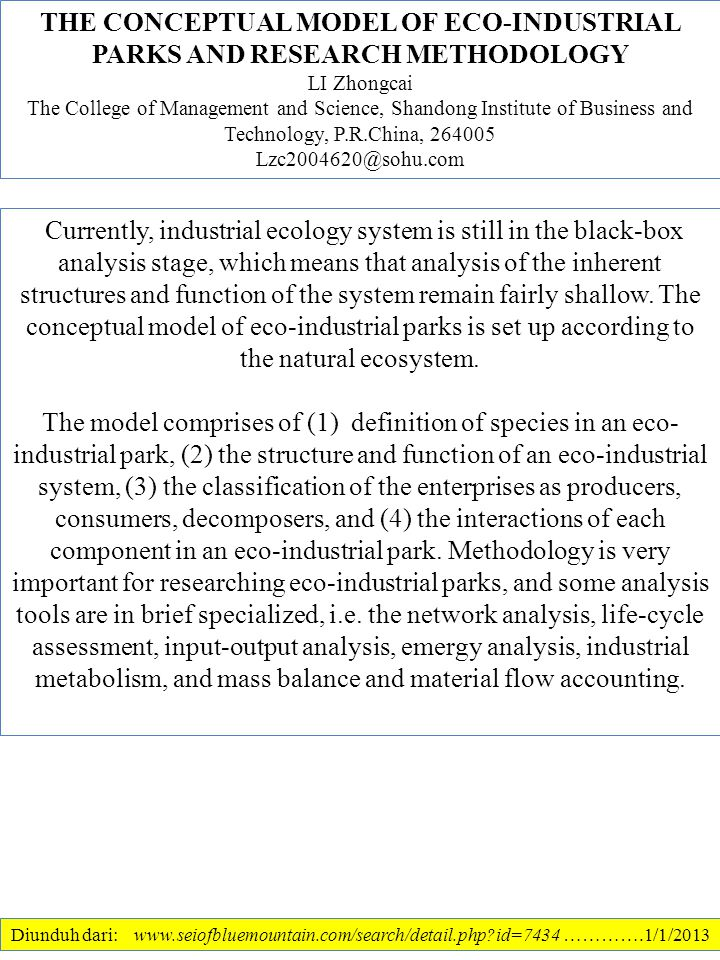 THE CONCEPTUAL MODEL OF ECO-INDUSTRIAL PARKS AND RESEARCH METHODOLOGY