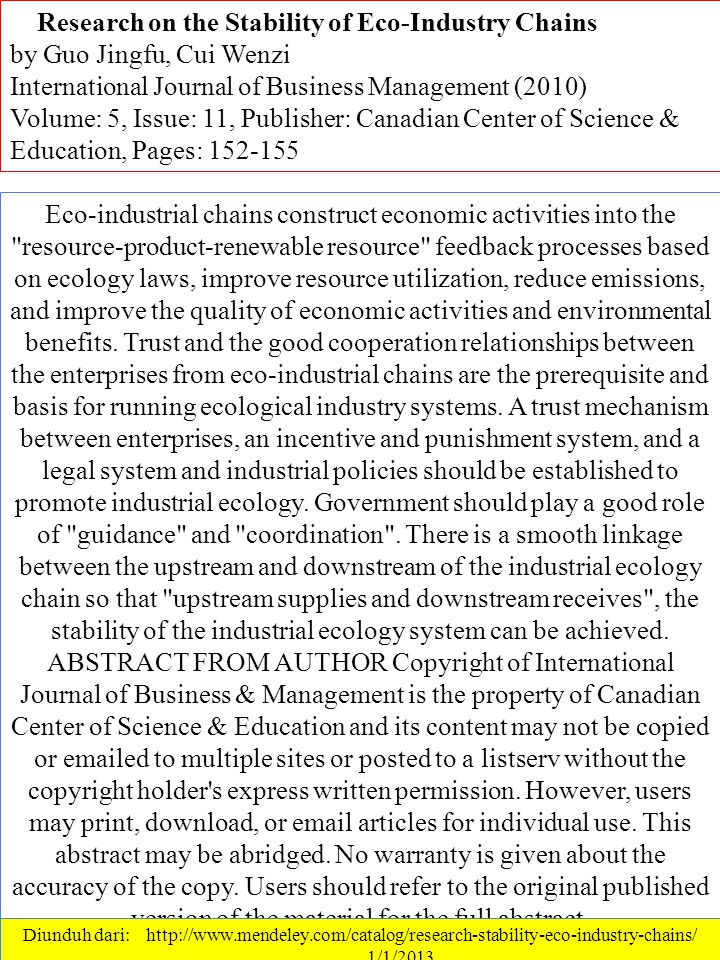 …Research on the Stability of Eco-Industry Chains