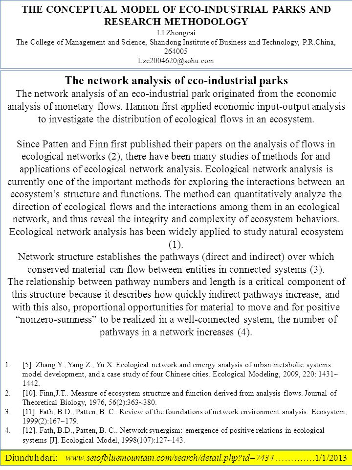 The network analysis of eco-industrial parks