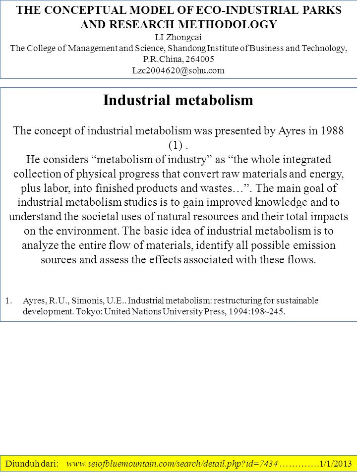 Industrial metabolism