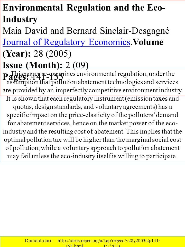 Environmental Regulation and the Eco-Industry