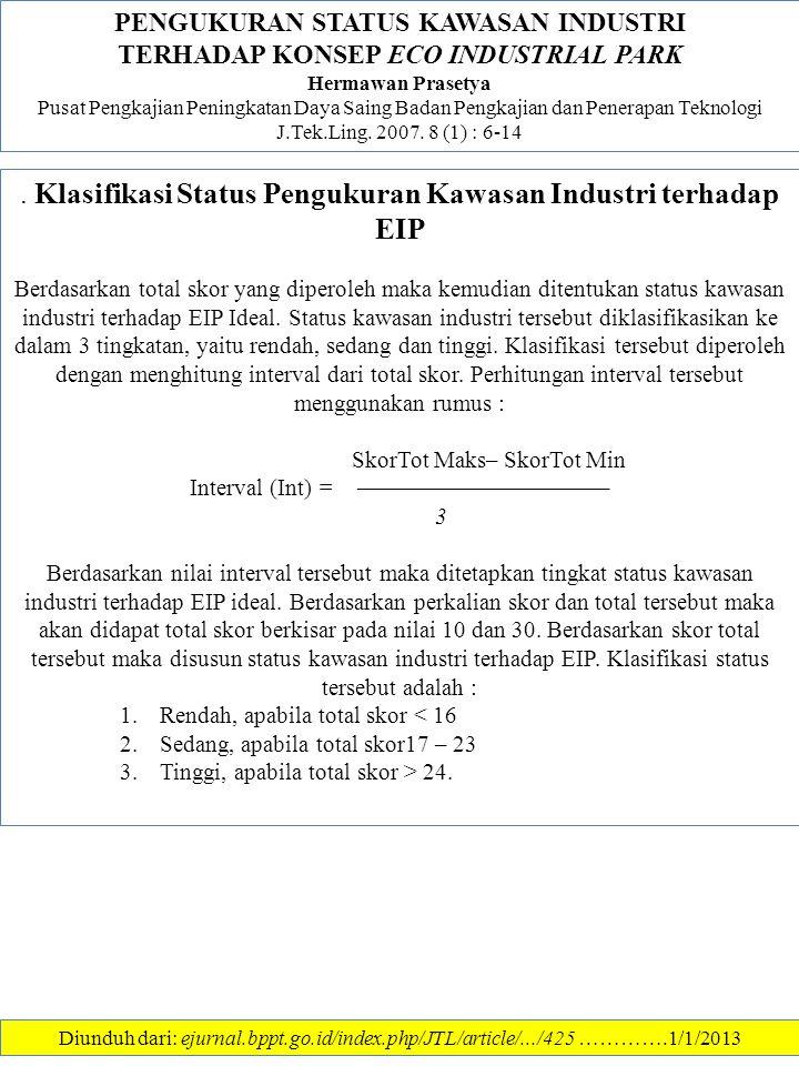 PENGUKURAN STATUS KAWASAN INDUSTRI TERHADAP KONSEP ECO INDUSTRIAL PARK