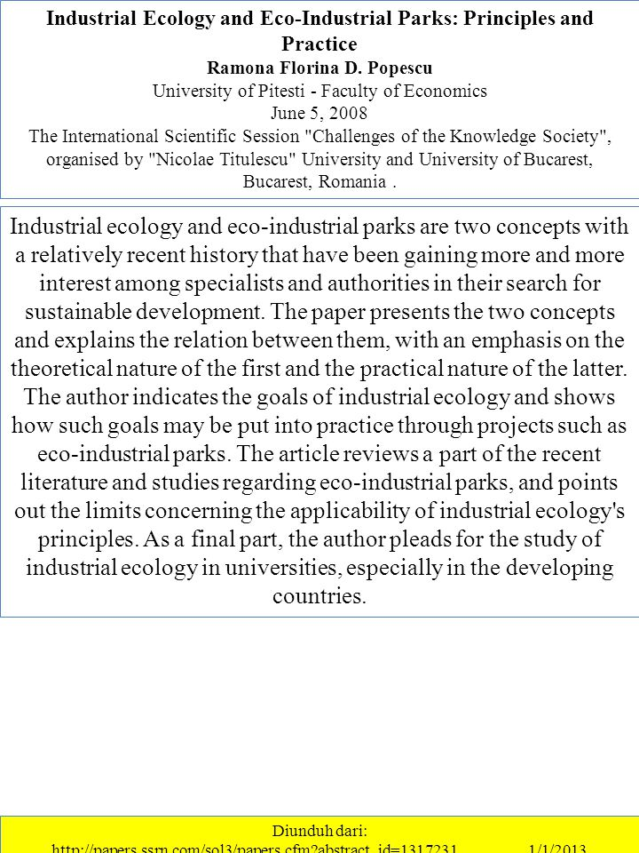 Industrial Ecology and Eco-Industrial Parks: Principles and Practice