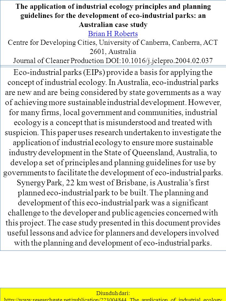 Journal of Cleaner Production DOI:10.1016/j.jclepro.2004.02.037