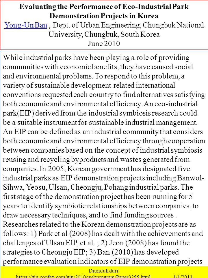 Evaluating the Performance of Eco-Industrial Park Demonstration Projects in Korea