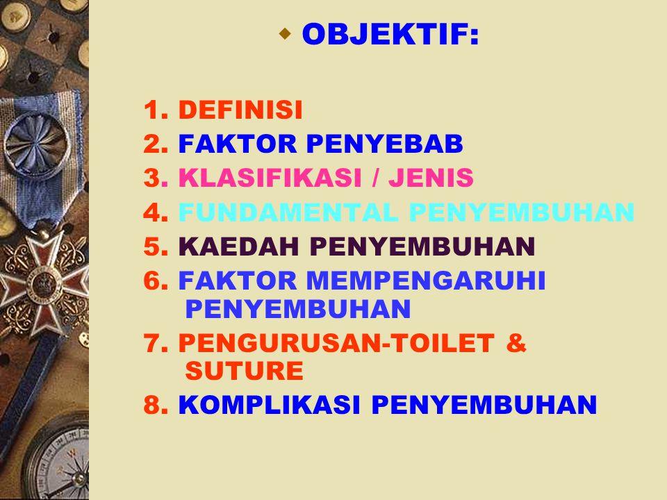 OBJEKTIF: 1. DEFINISI 2. FAKTOR PENYEBAB 3. KLASIFIKASI / JENIS