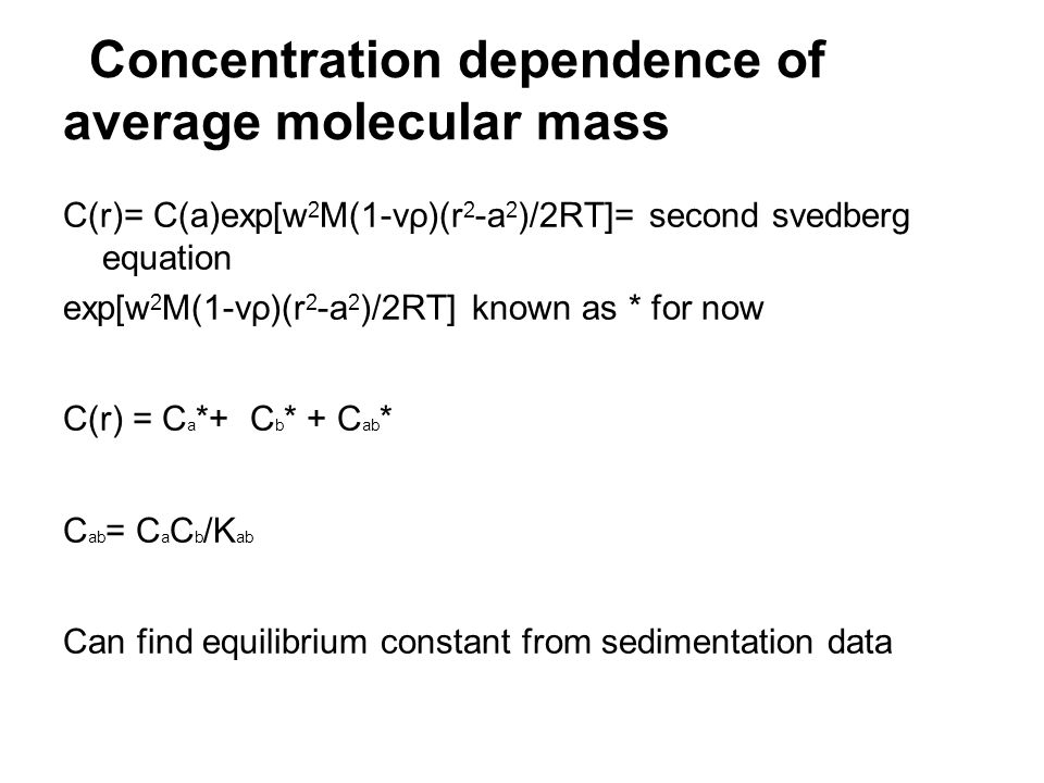 Concentration dependence of average molecular mass