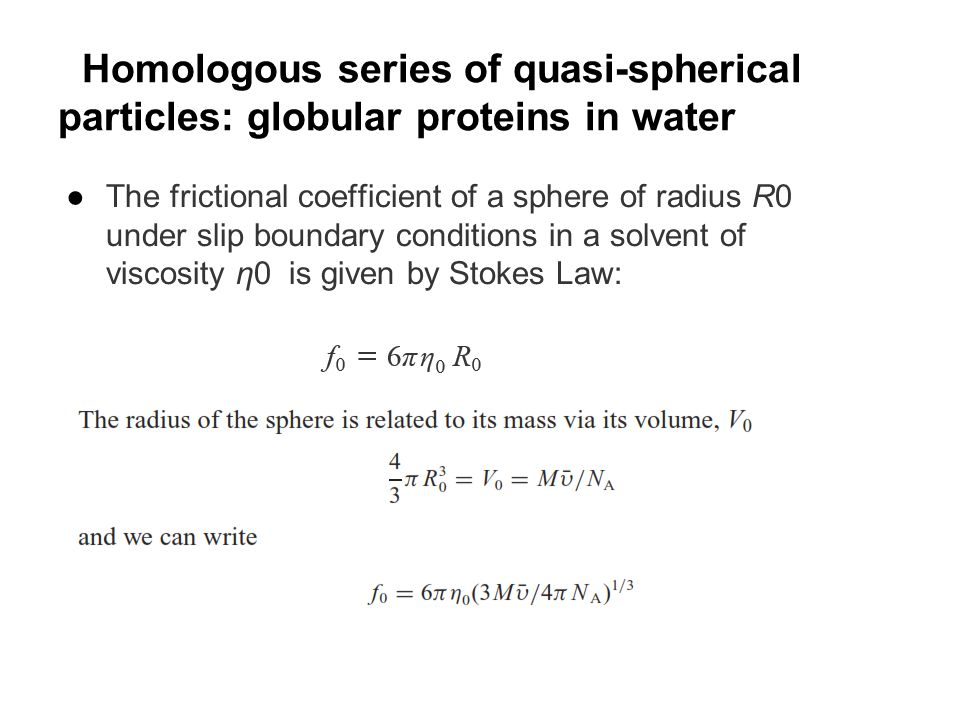 Homologous series of quasi-spherical particles: globular proteins in water