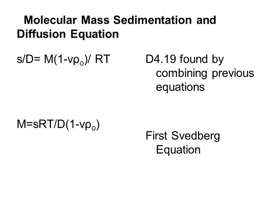 Molecular Mass Sedimentation and Diffusion Equation