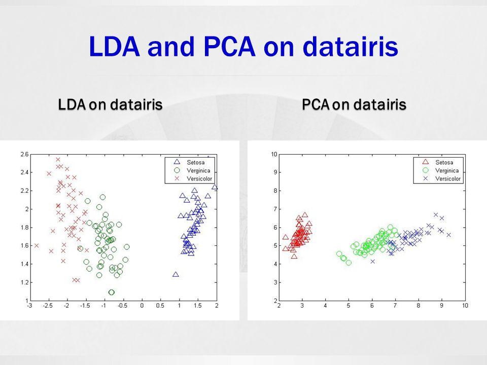 LDA and PCA on datairis LDA on datairis PCA on datairis