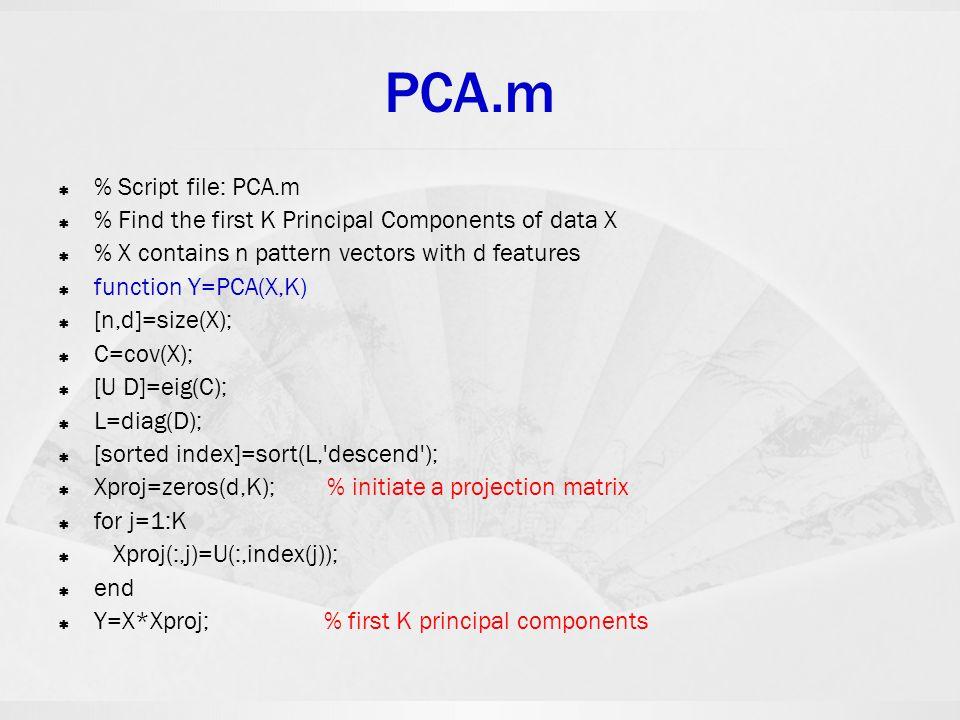 PCA.m % Script file: PCA.m
