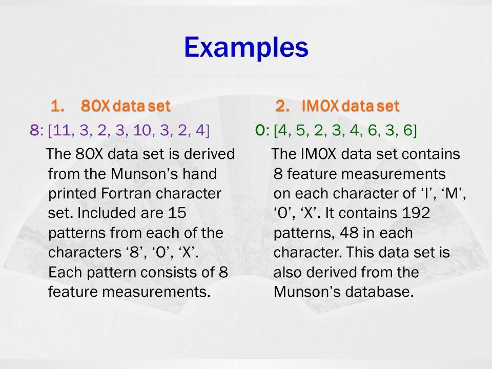 Examples 1. 8OX data set 2. IMOX data set