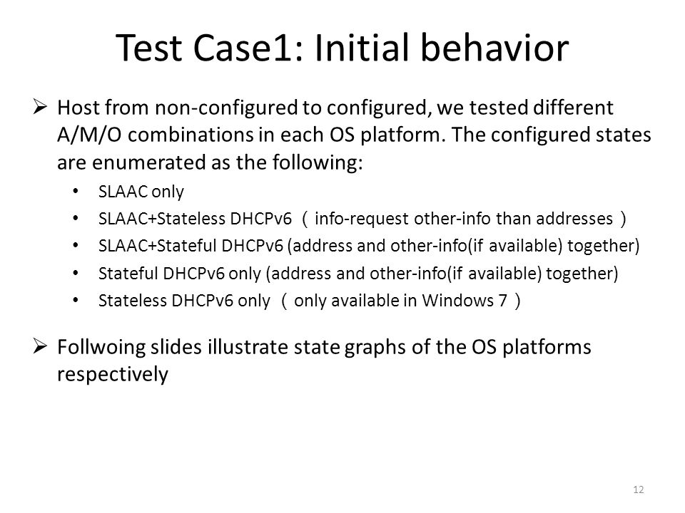 Test Case1: Initial behavior