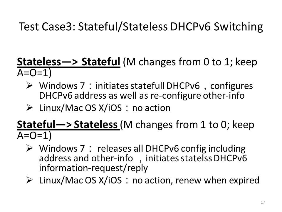 Test Case3: Stateful/Stateless DHCPv6 Switching
