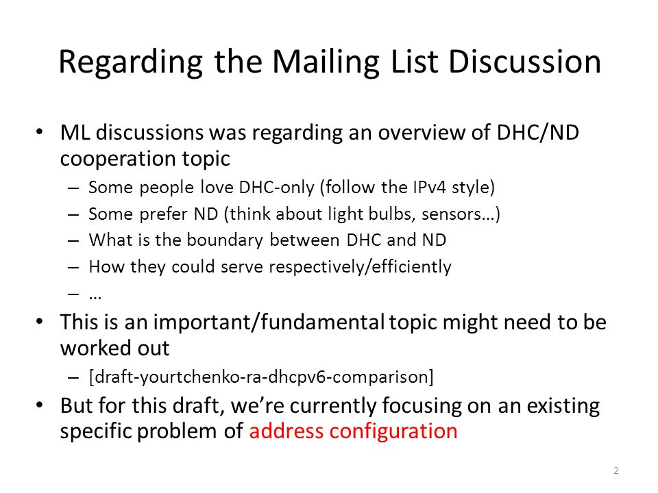 Regarding the Mailing List Discussion