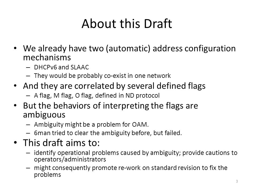 About this Draft This draft aims to: