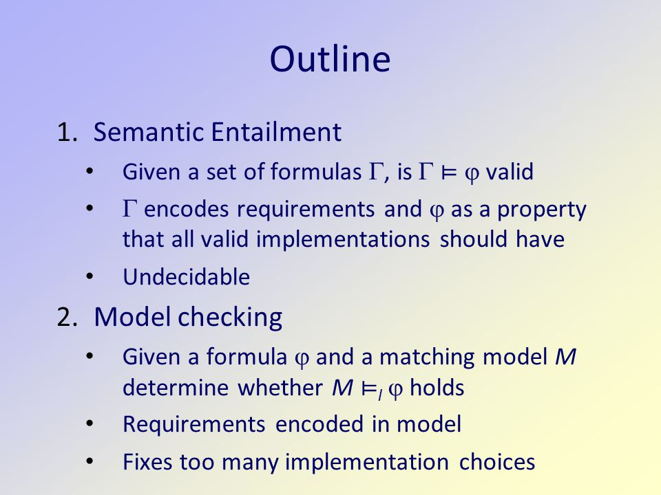 Outline Semantic Entailment Model checking