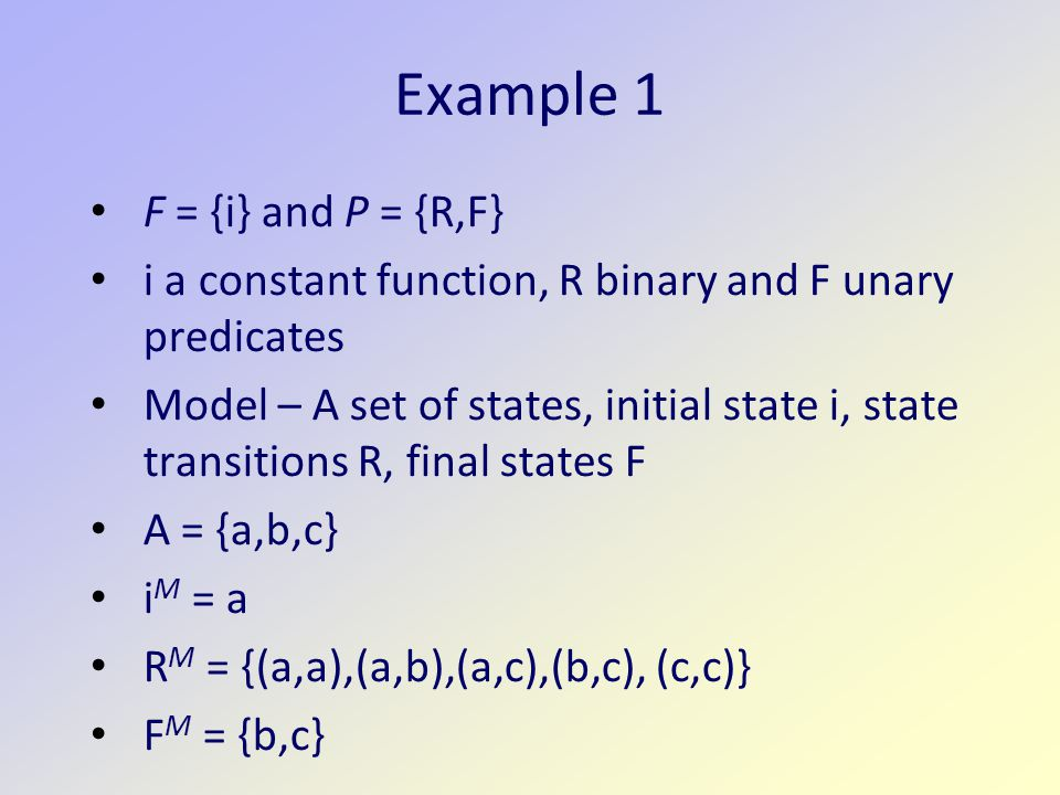 Example 1 F = {i} and P = {R,F}