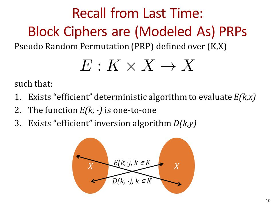 Recall from Last Time: Block Ciphers are (Modeled As) PRPs