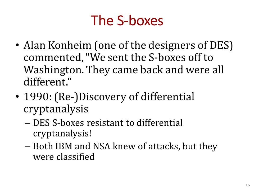 The S-boxes Alan Konheim (one of the designers of DES) commented, We sent the S-boxes off to Washington. They came back and were all different.