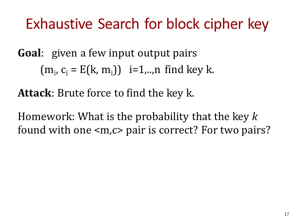 Exhaustive Search for block cipher key