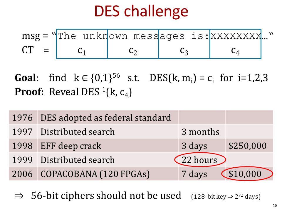 DES challenge