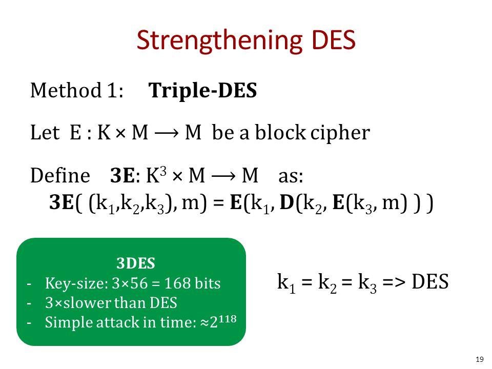 Strengthening DES Method 1: Triple-DES