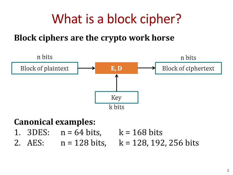 What is a block cipher Block ciphers are the crypto work horse