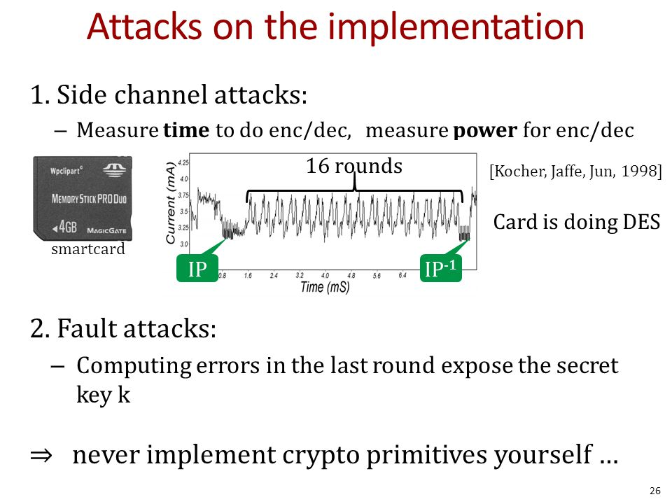 Attacks on the implementation