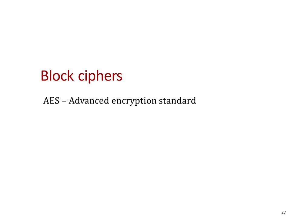 Block ciphers AES – Advanced encryption standard