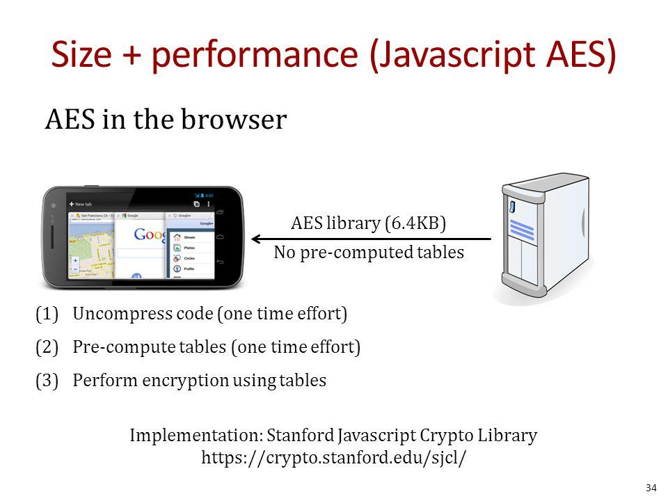Size + performance (Javascript AES)