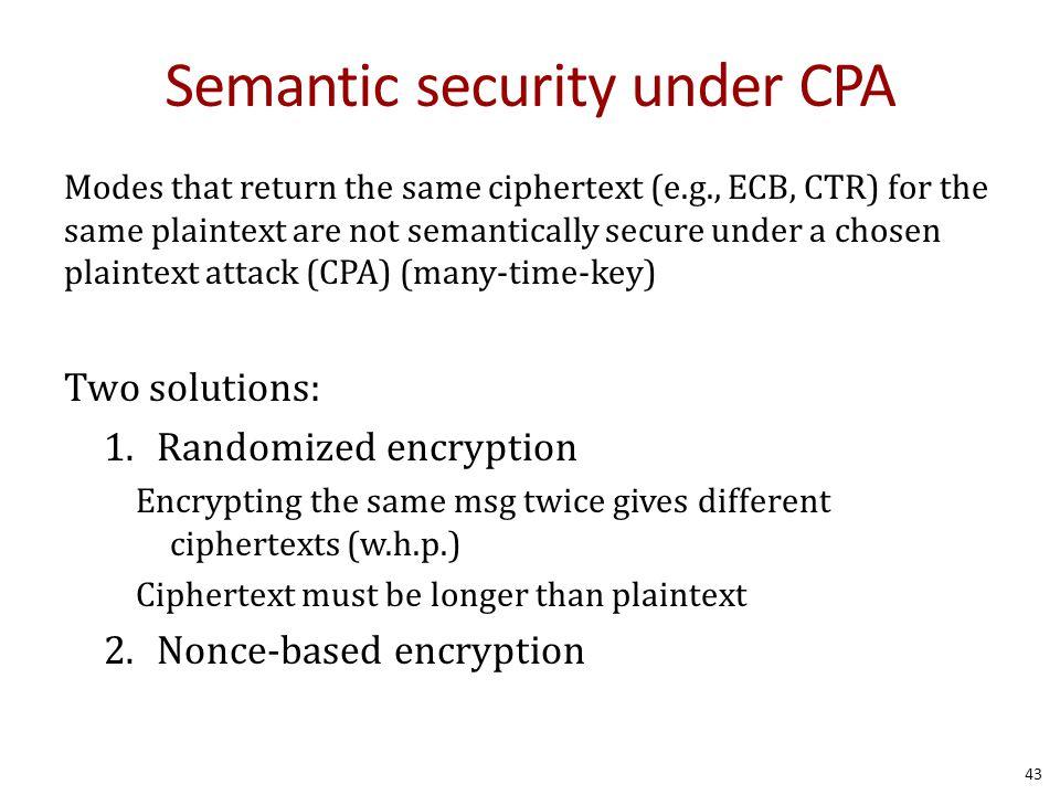 Semantic security under CPA