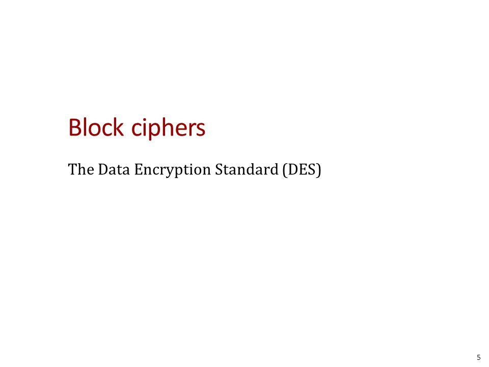 Block ciphers The Data Encryption Standard (DES)