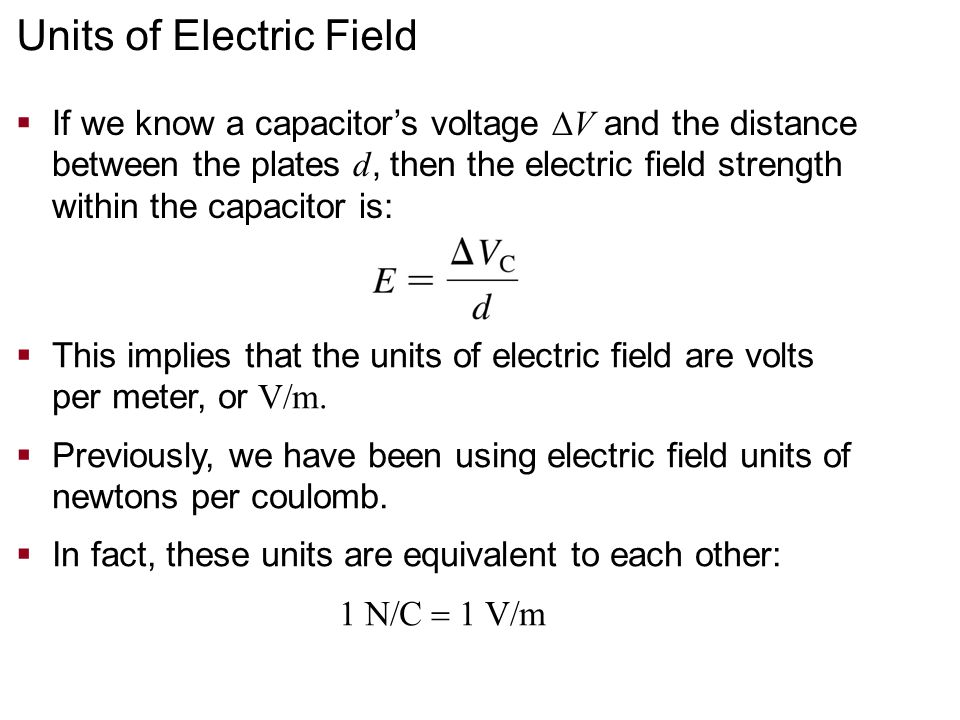 Units of Electric Field
