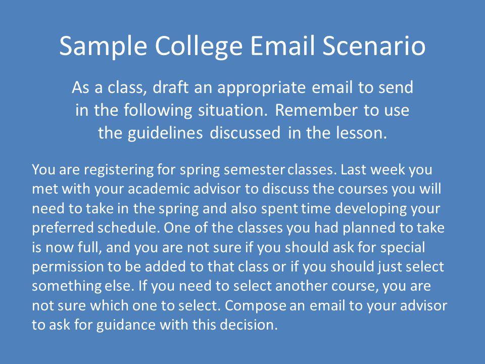 Sample College Email Scenario
