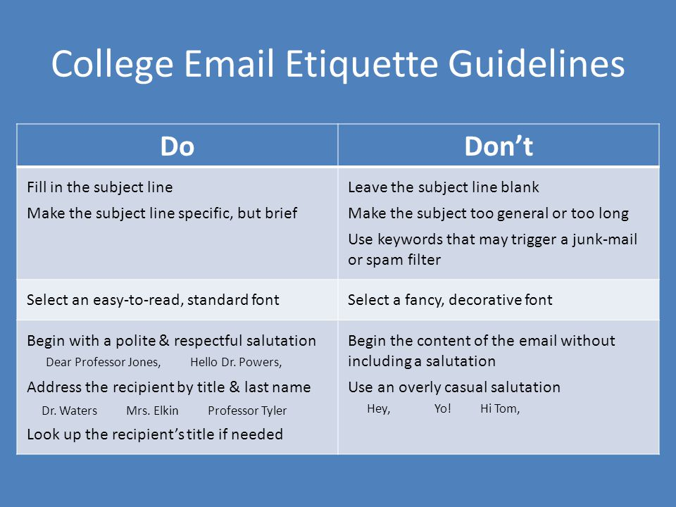 College Email Etiquette Guidelines