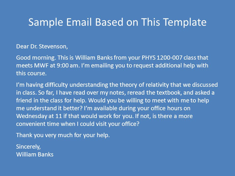 Sample Email Based on This Template