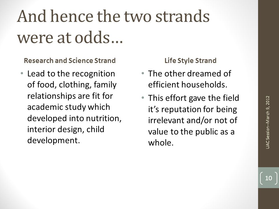 And hence the two strands were at odds…