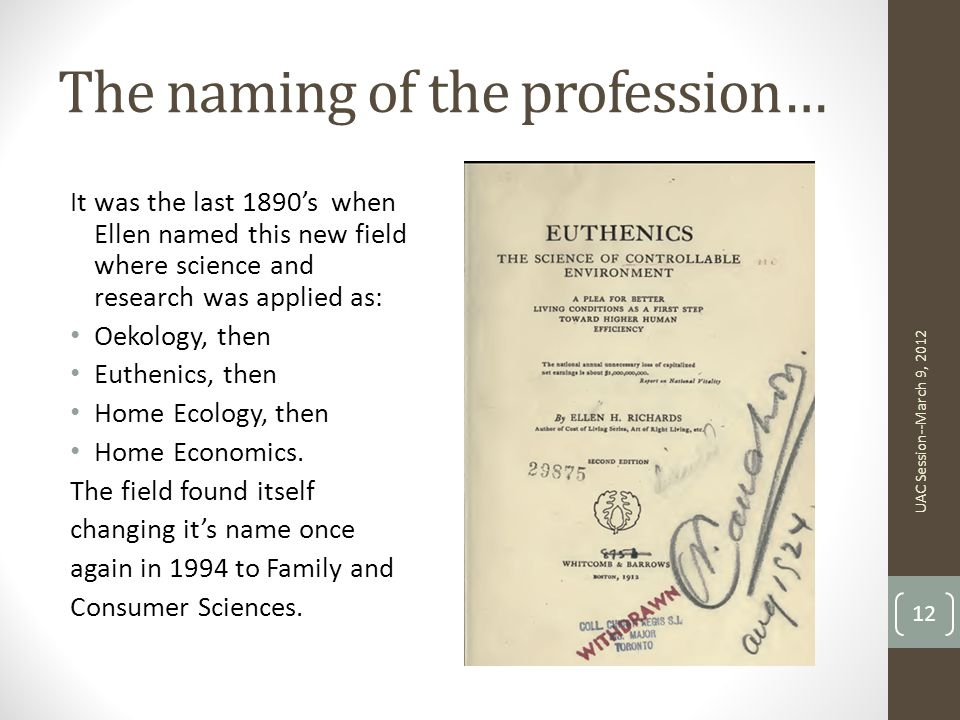 The naming of the profession…