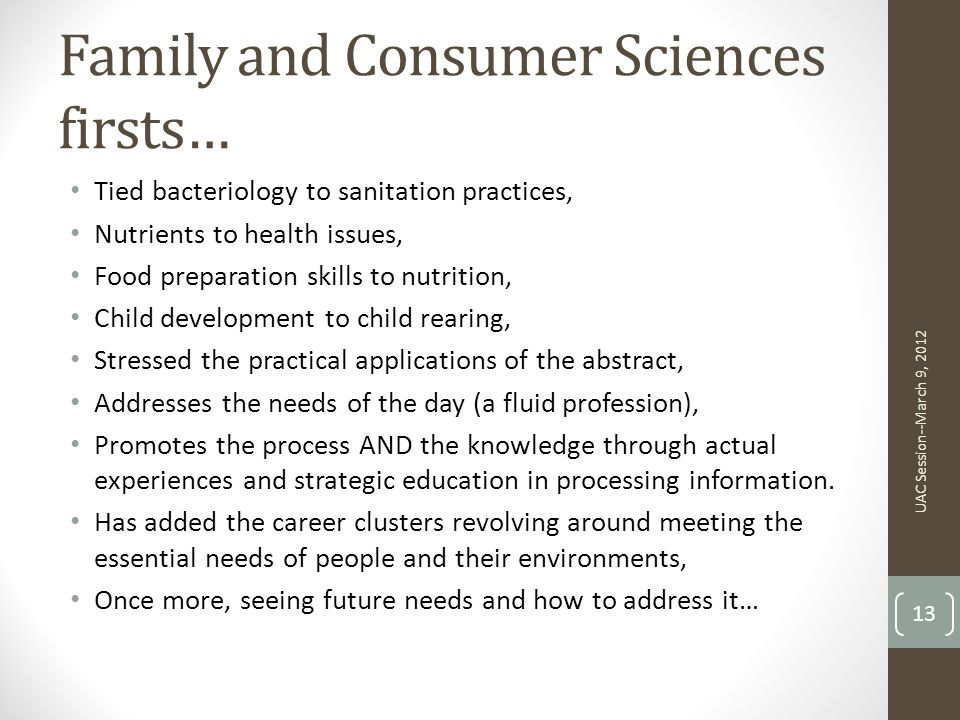 Family and Consumer Sciences firsts…