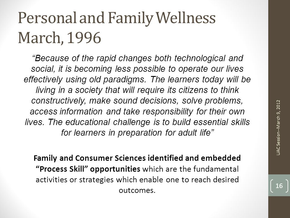 Personal and Family Wellness March, 1996